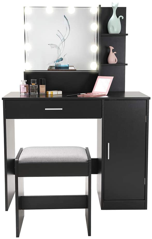 Black Vanity Table with Lighted Mirror for Bedroom