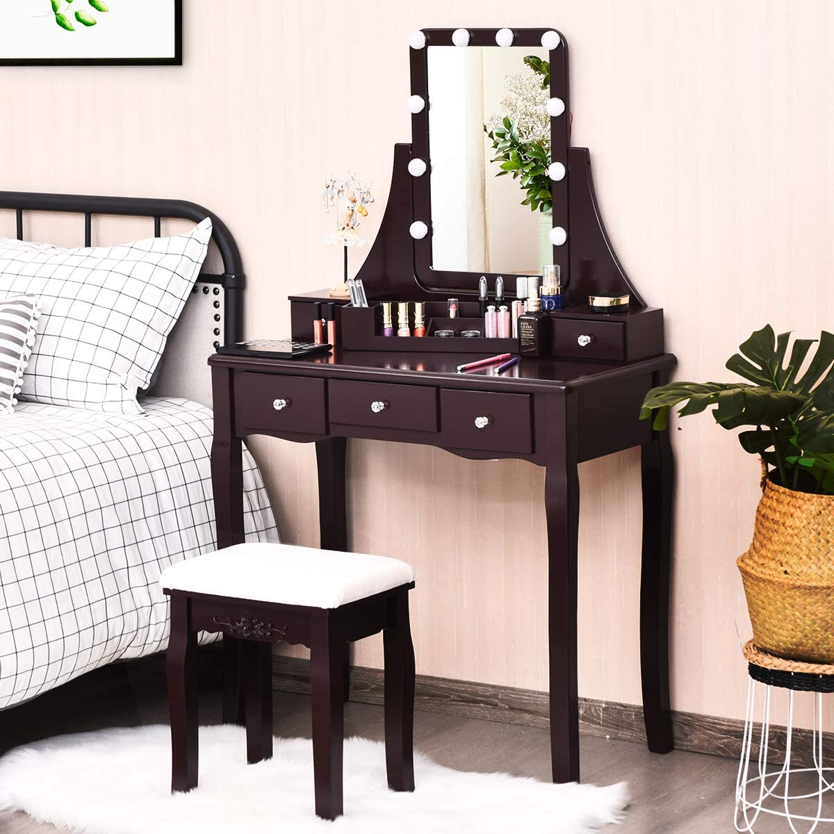 CHARMAID Vanity Set with Lighted Mirror and 5 Drawer