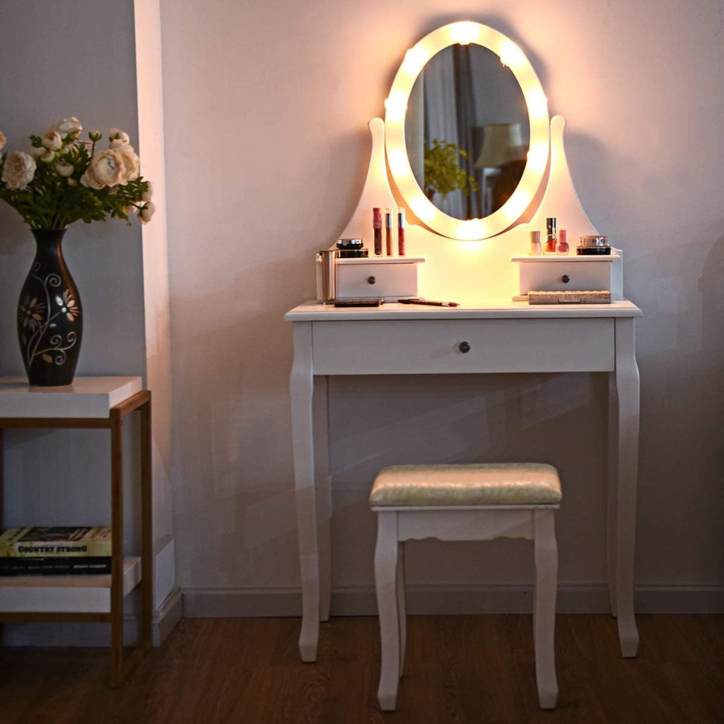 GOFLAME Dressing Table Set with 360 Rotation Lighted Mirror