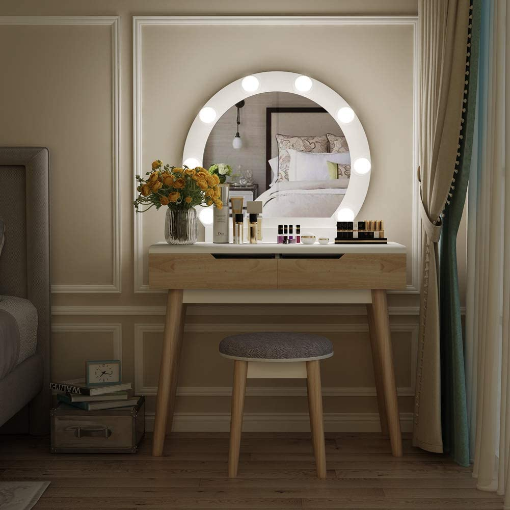 Tribesigns Wood Vanity Set with Round Lighted Mirror