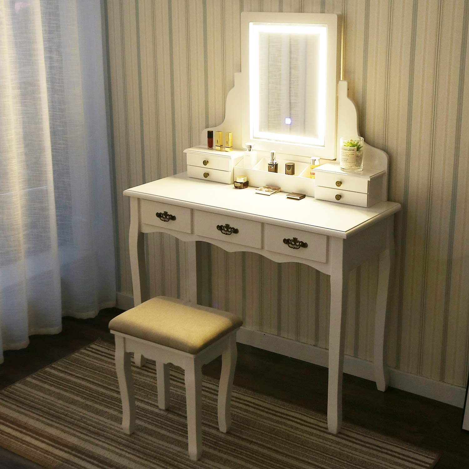 YOURLITEAMZ Vanity Table Set with Touch Screen Adjustable Lighted Mirror