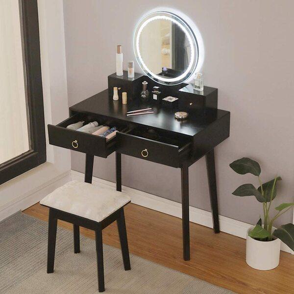 Best Black Vanity Tables with Mirror